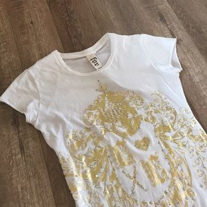 Johnny Was For Love and Liberty Gold Studded Tee